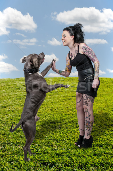 Stok fotoğraf: Güzel · bir · kadın · boğa · güzel · genç · kadın · köpek · kadın
