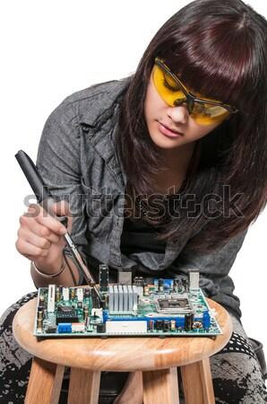 女性 はんだ付け 美人 修復 作業 ストックフォト © piedmontphoto