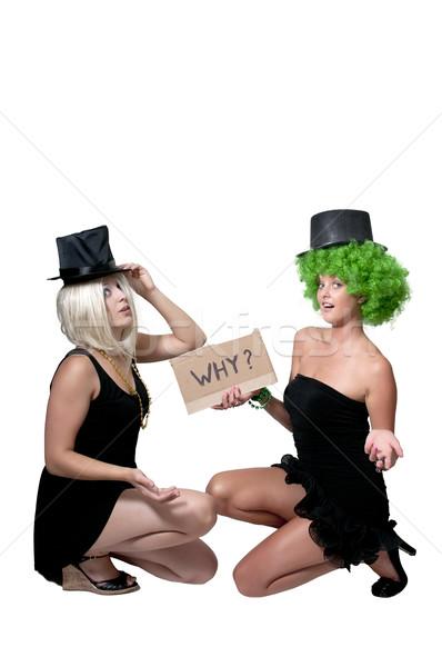 Stockfoto: Vrouwen · borden · paar · woord · vrouw