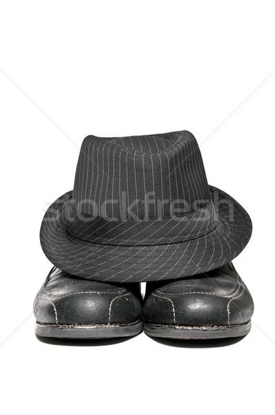 Stockfoto: Fedora · jurk · schoenen · 1950 · hoed · paar