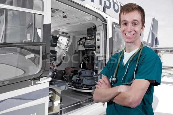 Lekarza życia lotu człowiek komórkowych pływające Zdjęcia stock © piedmontphoto
