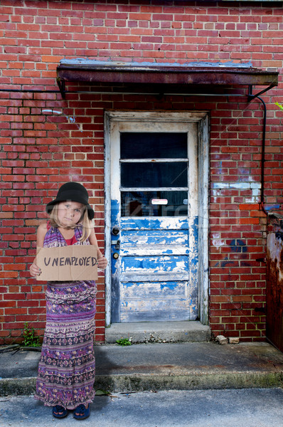 Little Girl Holding an Unemployment Sign Stock photo © piedmontphoto