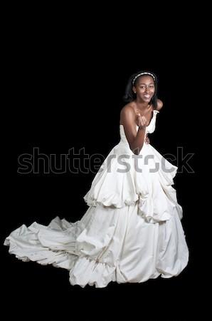 Schwarze Frau Hochzeitskleid schwarz Frau Braut Stock foto © piedmontphoto