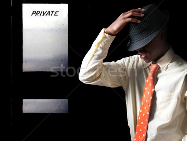 Negro hombre fedora atractivo guapo Foto stock © piedmontphoto