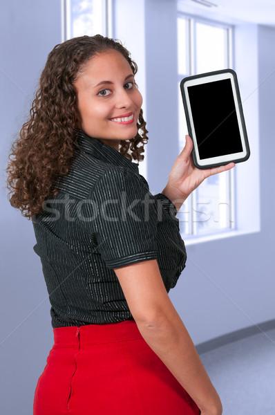 Foto stock: Mulher · comprimido · belo · computador · sorrir · internet