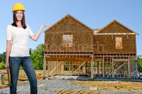 女性 建設作業員 仕事 サイト 女性 家 ストックフォト © piedmontphoto