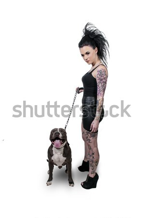 Beautiful Woman and Pit Bull Stock photo © piedmontphoto