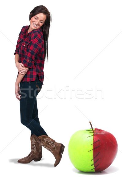 Kobieta jabłko piękna kobieta stałego obok czerwony Zdjęcia stock © piedmontphoto