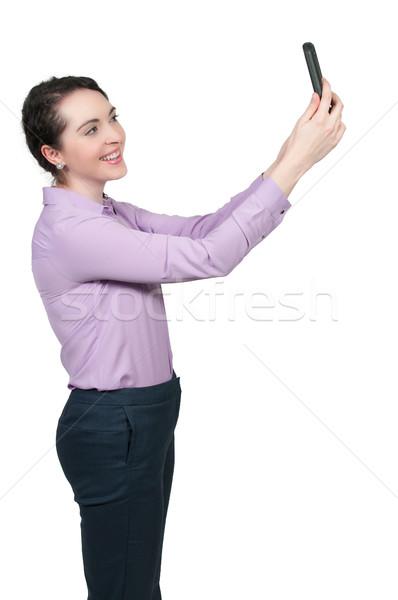 женщину красивая женщина сотового телефона счастливым модель Сток-фото © piedmontphoto