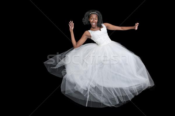 Afroamerikai nő esküvői ruha fekete afrikai nő menyasszony Stock fotó © piedmontphoto