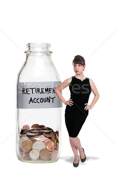 Retraite compte femme lait bouteille affaires Photo stock © piedmontphoto