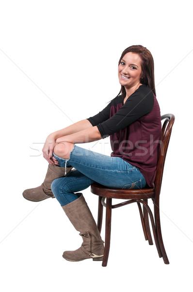 Bela mulher sessão belo mulher jovem cadeira menina Foto stock © piedmontphoto