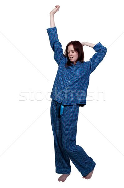 Kobieta w górę młodych piżama Zdjęcia stock © piedmontphoto