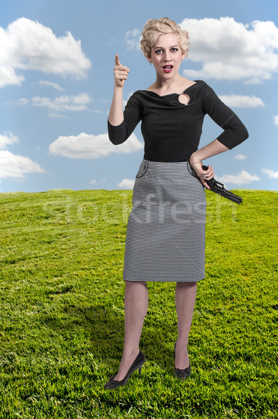 Nő fegyver gyönyörű nő kézifegyver pisztoly szexi Stock fotó © piedmontphoto