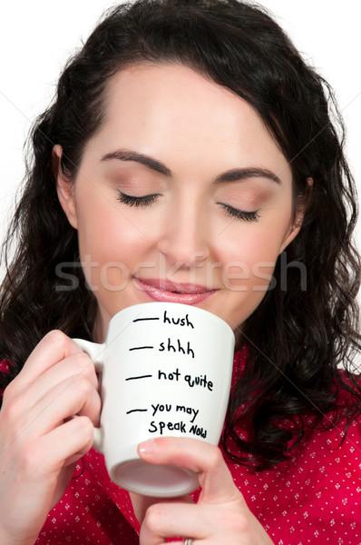 Mulher potável café belo mulher jovem manhã Foto stock © piedmontphoto