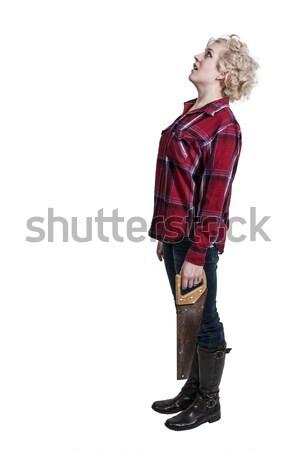 女性 木こり 美人 見た 準備 カット ストックフォト © piedmontphoto