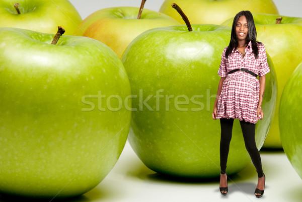 Terhes nő nagyi alma boldog terhes fekete Stock fotó © piedmontphoto