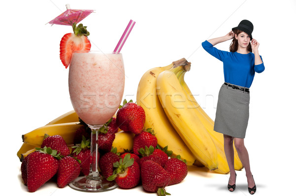 Woman with Fruit Smoothie Stock photo © piedmontphoto
