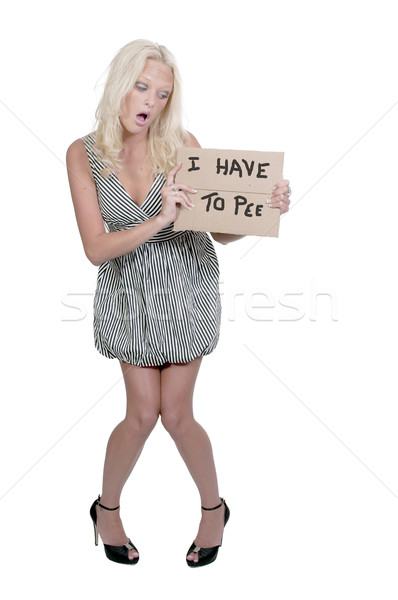 Woman Holding a Blank Sign Stock photo © piedmontphoto