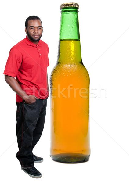 Сток-фото: черным · человеком · холодно · пива · черный · афроамериканец · человека