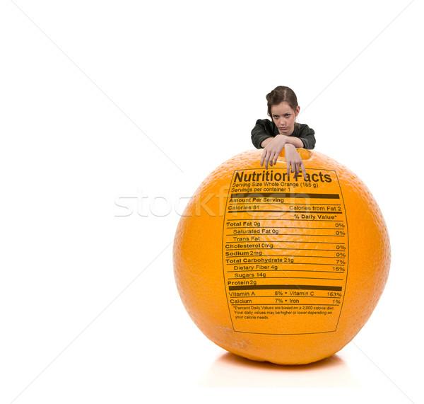 Foto stock: Adolescente · mulher · em · pé · atrás · laranja · nutrição
