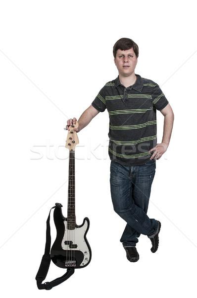 Adam bas gitar genç enstrüman Stok fotoğraf © piedmontphoto