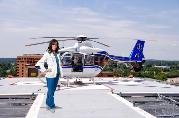 Doktor hayat uçuş kadın hareketli uçan Stok fotoğraf © piedmontphoto
