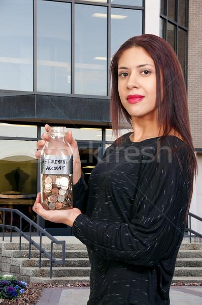 Vrouw pensioen rekening mooie latino Stockfoto © piedmontphoto