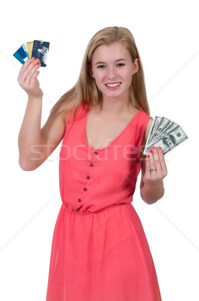 Vrouw 100 creditcards mooie vrouw Stockfoto © piedmontphoto