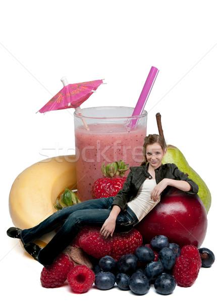 Teenage Woman with Fruit Smoothie Stock photo © piedmontphoto