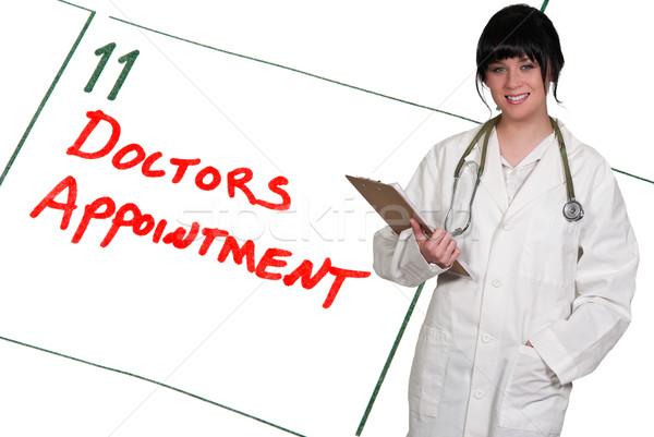 Lekarzy powołanie lekarza kalendarza przypomnienie kobieta Zdjęcia stock © piedmontphoto