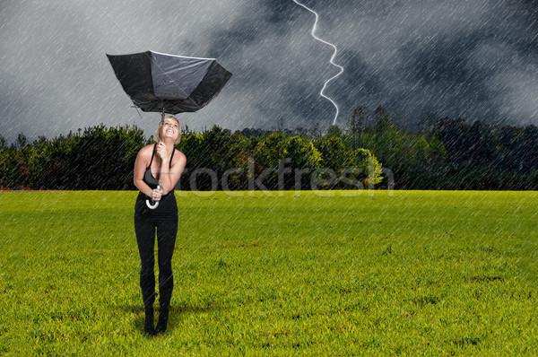 女性 傘 美しい 若い女性 壊れた ストックフォト © piedmontphoto