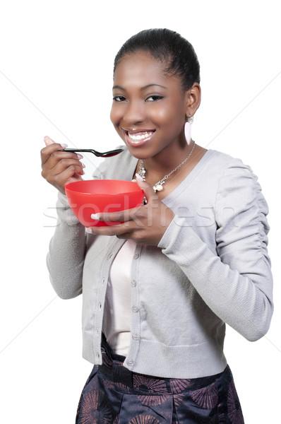 Foto stock: Mulher · alimentação · bela · mulher · comida · menina · sorrir