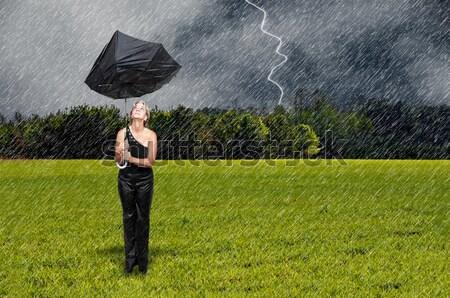 Woman Holding Umbrella Stock photo © piedmontphoto