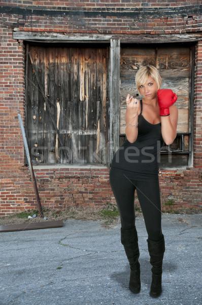 Boxe belo mulher jovem par luvas de boxe Foto stock © piedmontphoto