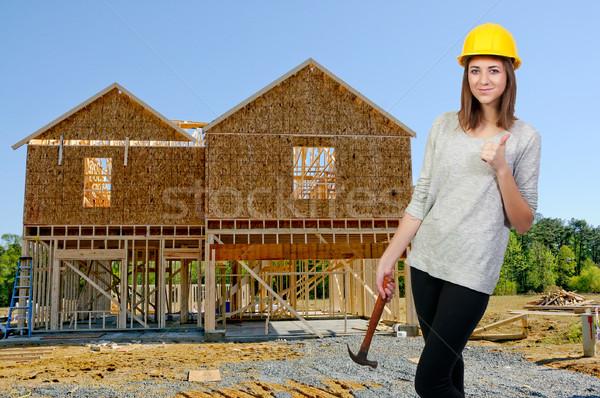 Homme travailleur de la construction Emploi femme sexy Photo stock © piedmontphoto