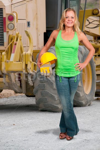 Vrouw bouwvakker werk handschoenen vrouwen Stockfoto © piedmontphoto