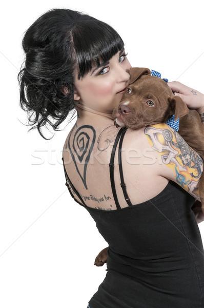 Gyönyörű nő bika kutyakölyök gyönyörű fiatal nő lány Stock fotó © piedmontphoto