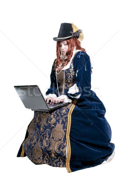 ストックフォト: 女性 · 本物の · ドレス · ファッション · ノートパソコン · 技術