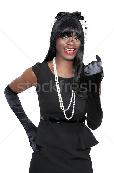 Stockfoto: Vrouw · hier · mooie · vrouw · vinger · iemand
