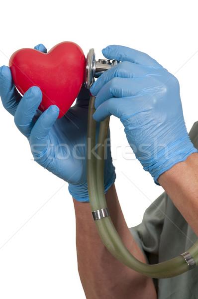 Masculino cardiologista vermelho coração hospital Foto stock © piedmontphoto
