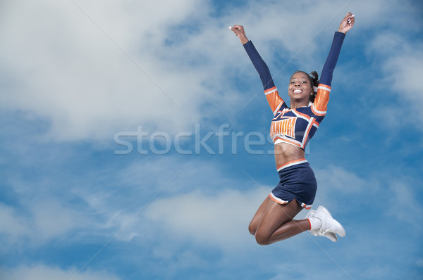 Fekete lány pompomlány fiatal tini afroamerikai Stock fotó © piedmontphoto