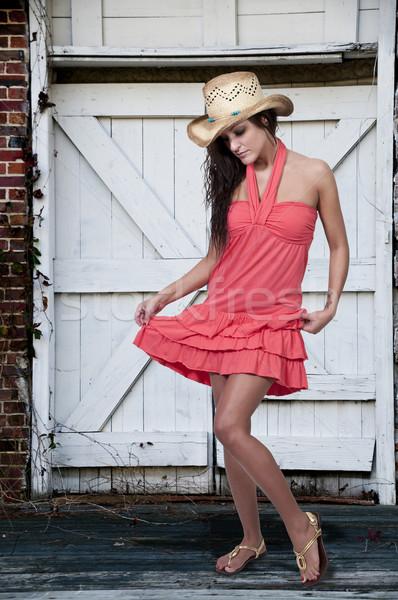 美しい 小さな 田舎娘 女性 着用 スタイリッシュ ストックフォト © piedmontphoto