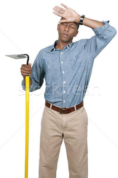 Landwirt Mann Hacke frisch Arbeit Bereich Stock foto © piedmontphoto
