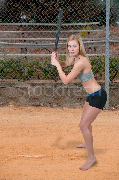 Foto stock: Mulher · jogador · de · beisebol · bela · mulher · taco · de · beisebol · menina · esportes
