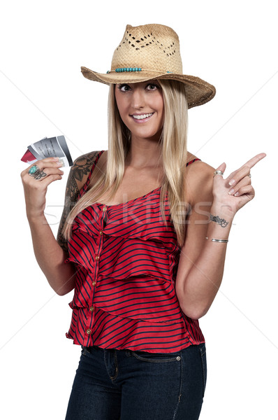 Nő tart 100 dollár bankjegyek gyönyörű nő kéz Stock fotó © piedmontphoto