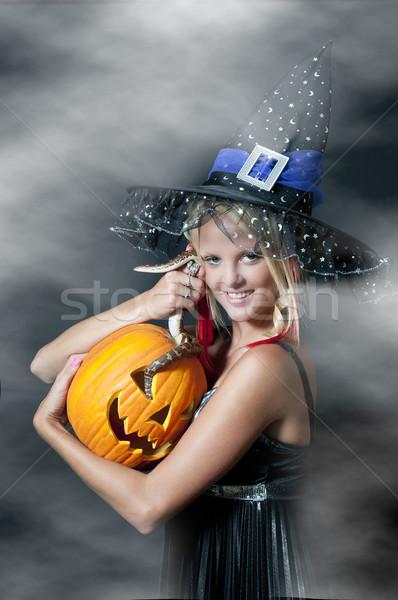 Hexe Schlange schönen jungen Frau Mädchen Stock foto © piedmontphoto