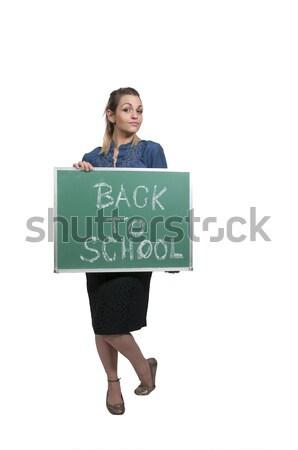 女性 教師 黒板 ストックフォト © piedmontphoto