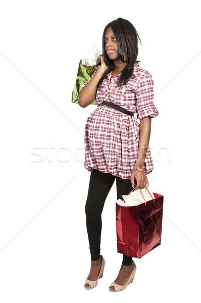 Nő vásárlás fiatal gyönyörű fekete afroamerikai Stock fotó © piedmontphoto