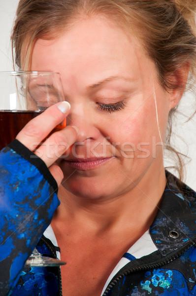 Kobieta wina piękna kobieta butelki kobiet Zdjęcia stock © piedmontphoto